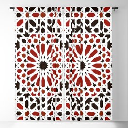 Red Geometric Moroccan Traditional Tiles Artwork. Blackout Curtain