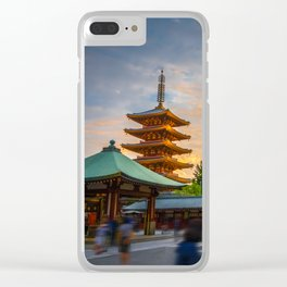 Hondo and pagoda at sunset in Senso-ji temple, Tokyo, Japan Clear iPhone Case
