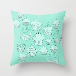 Minty Green Cupcakes! Throw Pillow