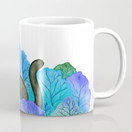 Blue Forest and Black Cat Watercolor Coffee Mug