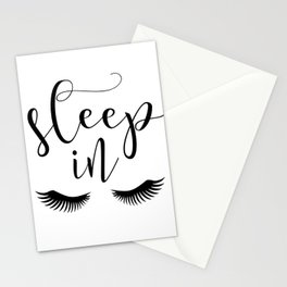 SLEEP IN PRINT, Let's Sleep In,Lashes Decor,Lashes Art,Good Night Print,Teen Girls,Calligraphy Quote Stationery Cards
