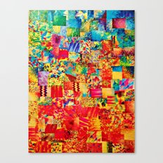 PAINTING THE SOUL - Vibrant Collage Mixed Abstract Acrylic Watercolor Painting Rainbow Colorful Art Canvas Print
