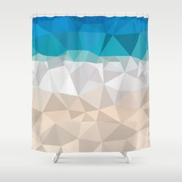 Low poly beach Shower Curtain