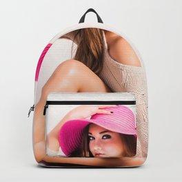 Fashion Illustration Pink Hat Backpack