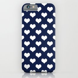 Navy Blue Love Hearts Minimal iPhone Case