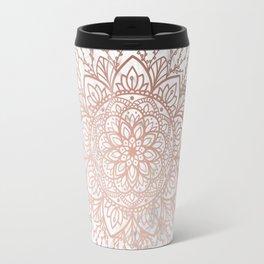 Rose Gold Nature Mandala on Marble Travel Mug
