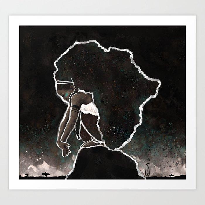 Africa Thinking Art Print