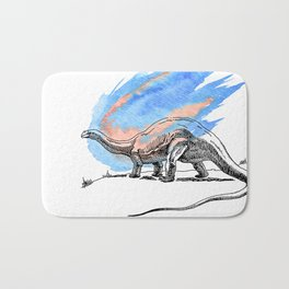 Brontosaurus Dinosaur on Blue Watercolor Asteroid Bath Mat