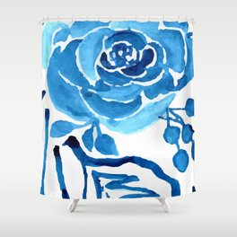 TROPICAL BLUE FLORAL Shower Curtain