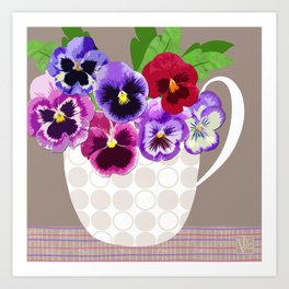 Pansies in Cup Art Print