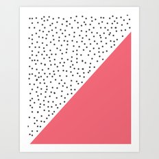 Geometric grey and pink design Art Print