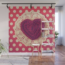 Red Crochet Heart Wall Mural