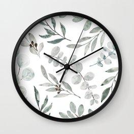 Australian Eucalyptus Home Decor Greenery by Erin Kendal Wall Clock