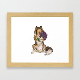 Collie with Flowers Framed Art Print