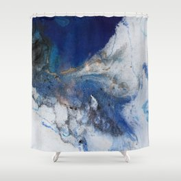 Abstract blue marble Shower Curtain
