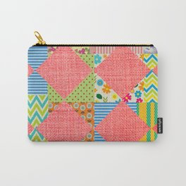 Pink patchwork print Carry-All Pouch
