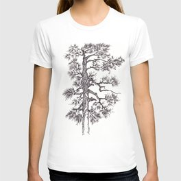 Black ink pine tree T-shirt