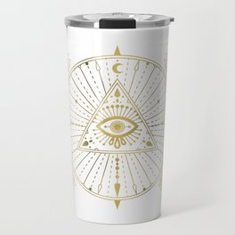 All-Seeing Eye Mandala – Gold Palette Travel Mug