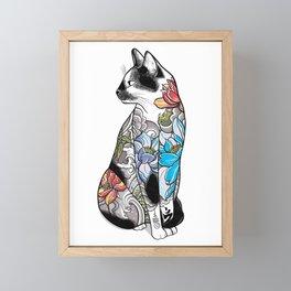 Cat in Lotus Tattoo Framed Mini Art Print