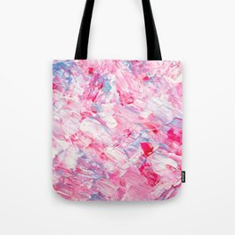 Pink white brushstrokes candy acrylic paint Tote Bag