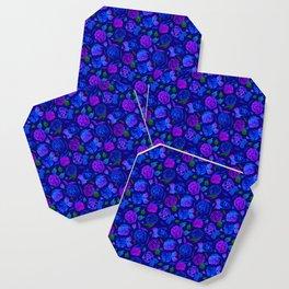 Watercolor Floral Garden in Electric Blue Bonnet Coaster
