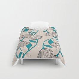 Blue Stem Flowers Comforters