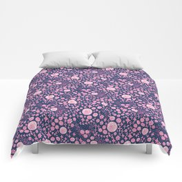 Abstract pink garden pattern in blue marine background Comforters