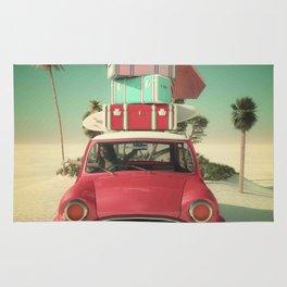 travel car in the beach Rug