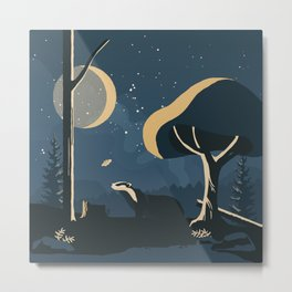 Badger with moth at night under the moonlight  Metal Print