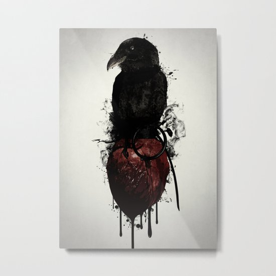 Raven and Heart Grenade Metal Print