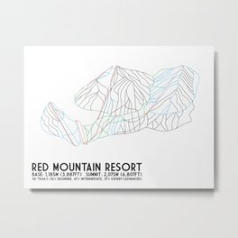 Red Mountain Resort, BC, Canada - Minimalist Trail Art Metal Print