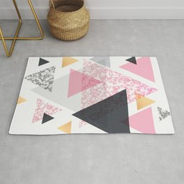 Multi Triangle - Rose Gold and Marble Rug