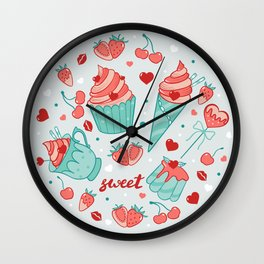 Valentine's sweets - Pastel Wall Clock