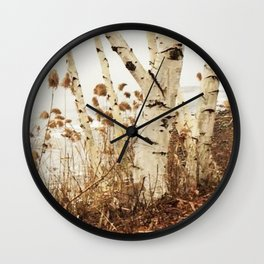Autumn Birches by the Lake Wall Clock