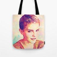 emma watson Tote Bags featuring Watson by Ruy Arte Hewitt