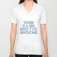 weird V-neck T-shirts featuring Weird by Jude's