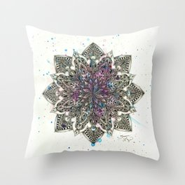 Zen Watercolor Mandala Full Throw Pillow