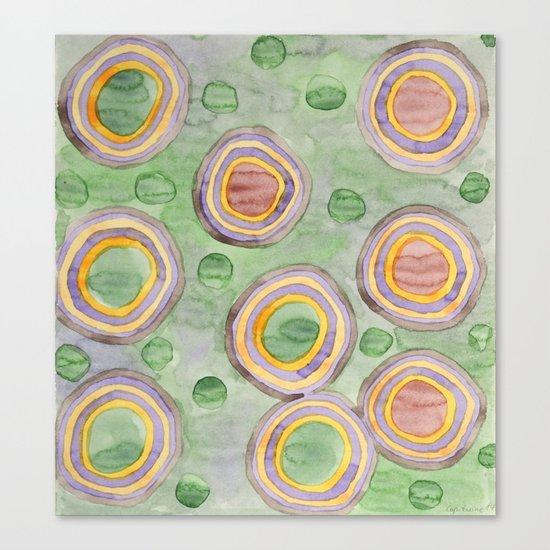 Luminous Ringed Circles on Green Canvas Print