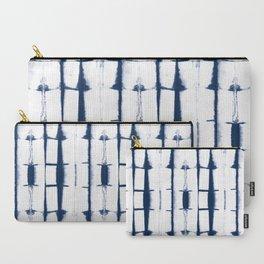 Shibori Stripes 4 Indigo Blue Carry-All Pouch