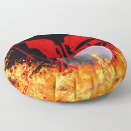 Flaming Red Drum Set Floor Pillow