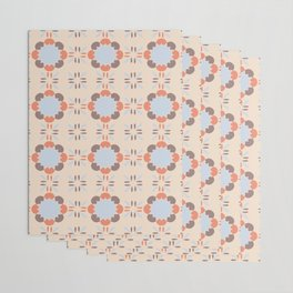 Blue Retro Tile Wrapping Paper