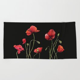 Poppies at Midnight Beach Towel