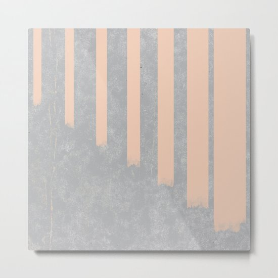 Blush stripes on concrete Metal Print