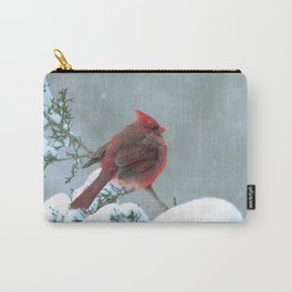 Puffed Cardinal in Snowstorm Carry-All Pouch