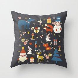 Christmas symbols pattern Throw Pillow