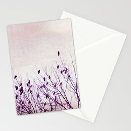Birds in Tree Branches Photography, Purple Nature, Lavender Pastel Bird Photograph Stationery Cards