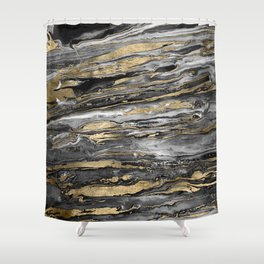 Stylish gold abstract marbleized paint Shower Curtain