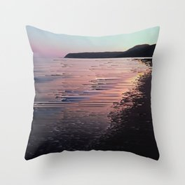 Glitched Sunset on the Ocean Throw Pillow