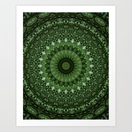 Mandala in olive green tones Art Print