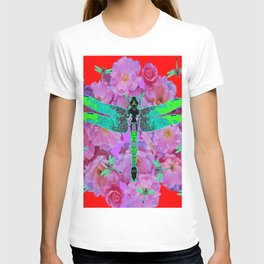 EMERALD DRAGONFLIES  PINK ROSES RED COLOR T-shirt